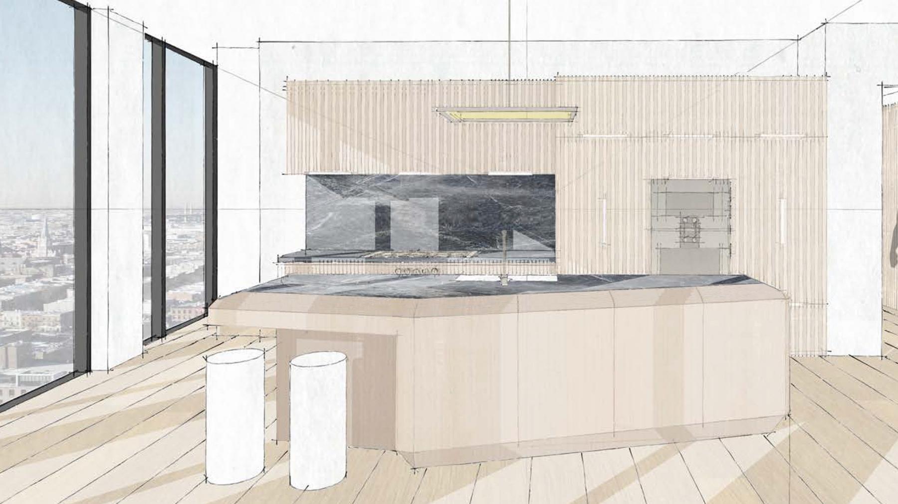 Olympia design kitchen slider sketch